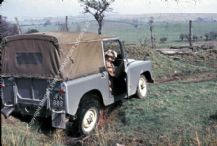 Land Rover series 2 in a ditch on Welsh farm early 1960s